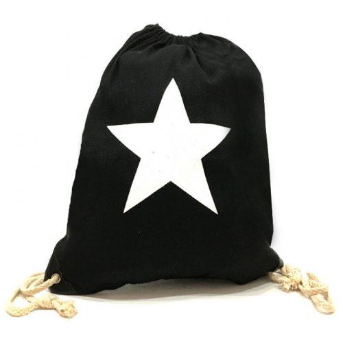 Detalle de mochila negra de tela