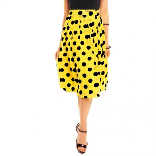falda de gasa amarilla con lunares negros