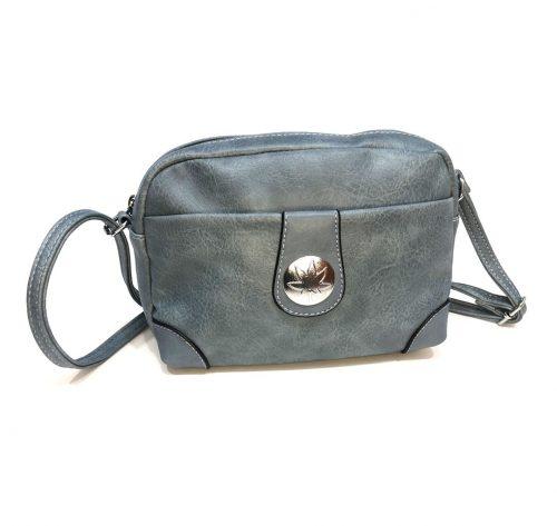 vista frontal de bolso bandolera azul jean