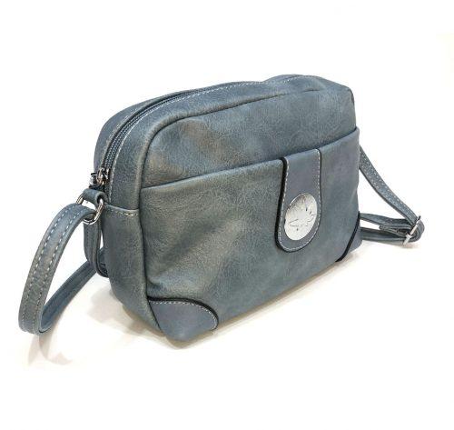 vista lateral de bolso bandolera azul jean