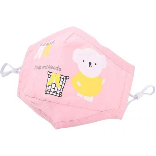 Vista de mascarilla infantil osito rosa