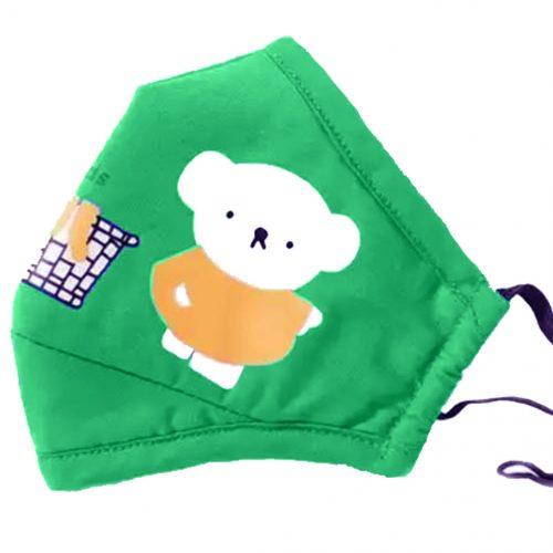 vista de mascarilla infantil osito verde