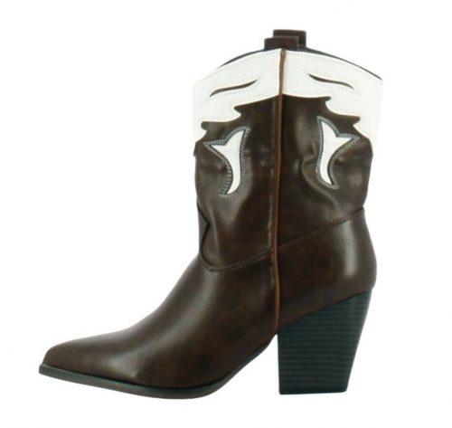 vista lateral de botín cowboy marrón y blanco