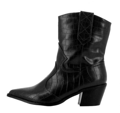 Vista lateral externa de botín cowboy negro