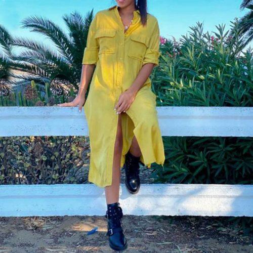 vista frontal de vestido camisero amarillo midi