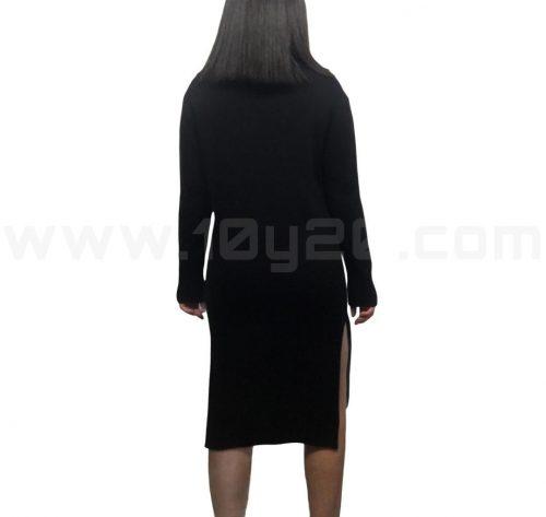 vista posterior de vestido de punto negro wci