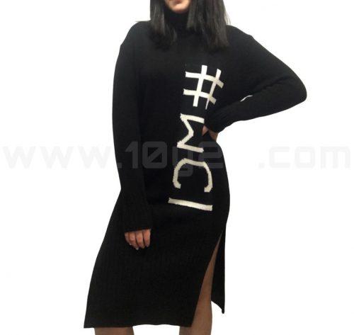 vista frontal de vestido de punto negro wci