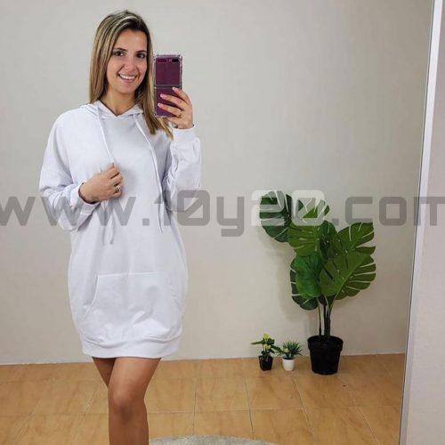vista de vestido sudadera blanca