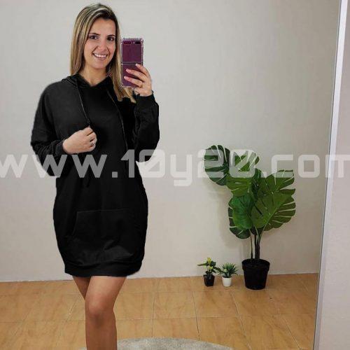 vista de vestido sudadera negro