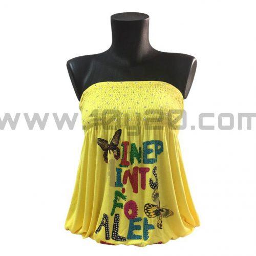 vista de camiseta amarilla palabra de honor
